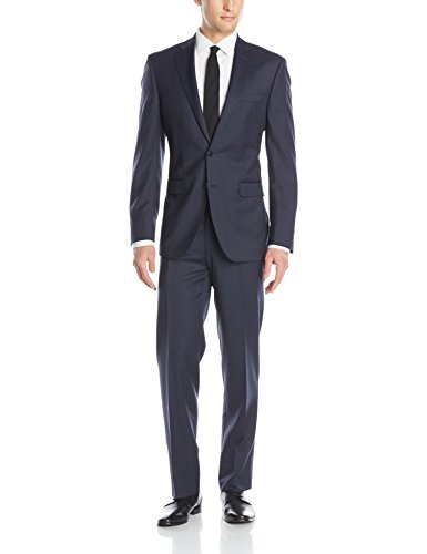 Calvin Klein Mens Marbry Cross Stitch Side-Vent Suit with Flat-Front Pant