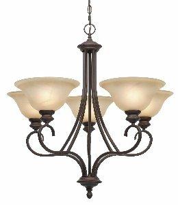 Bronze Finish 5 Light Chandelier (Golden Lighting 6005-5 RBZ Lancaster Five Light Chandelier, Rubbed Bronze)