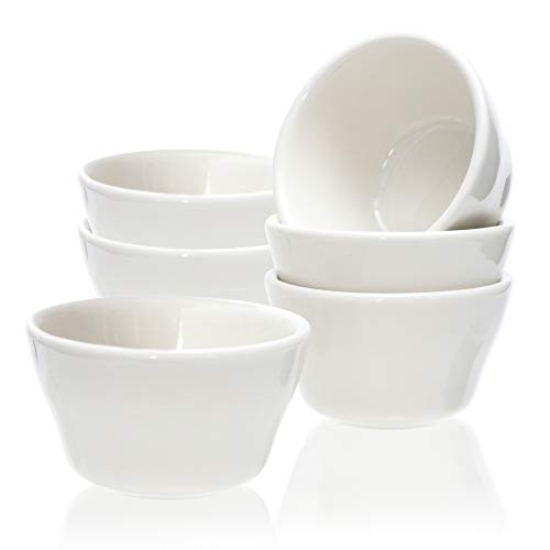 Cole & Hammen - 8 Ounce Porcelain Bouillon Cups - Small Bowl - Dessert, Fruit, Ice Cream, Sauce - Dishes, White, Set of 6, 1 YEAR WARRANTY