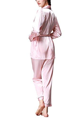 Dolamen Pijamas para mujer, Pijamas Mujer invierno, Mujer camisones, Satén suave y cálido Manga larga y pantalones largos, Mujer largo Camisones raso Satin Pijamas Rosado