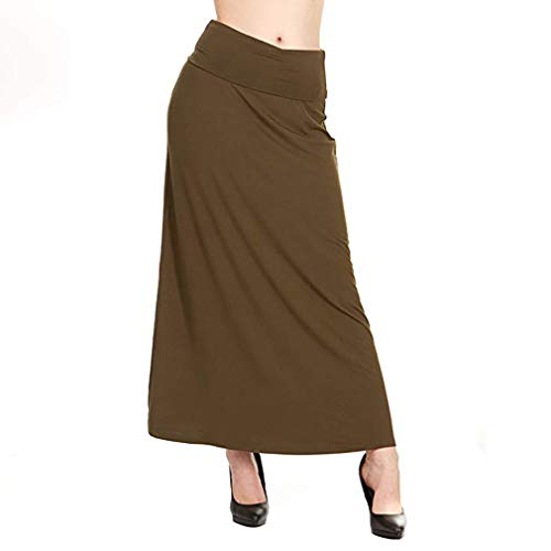 (X America Womens Long Stylish Foldover Maxi Skirt, Rayon Spandex, Junior & Plus Dark Olive)