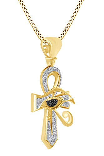 Round Shape White & Black Natural Diamond Evil Eye Ankh Cross Pendant Necklace 10k Solid Yellow Gold (0.5 Cttw) ()