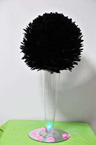 Centerpiece Feather Ball Large Wedding Ball Pompoms Kissing Ball 14 inch Black ()
