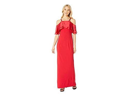Adrianna Papell Women's Satin Popover Mermaid Gown with Beaded Cold Shoulder Sleeves, red, 12