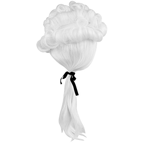 baotongle White Gentleman Lawyer George Washington Wig Costume Accessory