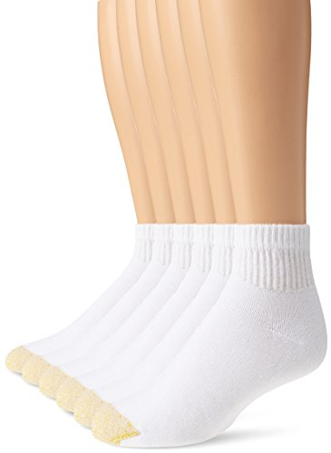 Gold Toe Men's Big and Tall 656P Cotton Quarter Athletic Socks, 6 Pack, White, Shoe Size: 12-16 Size: 13-15