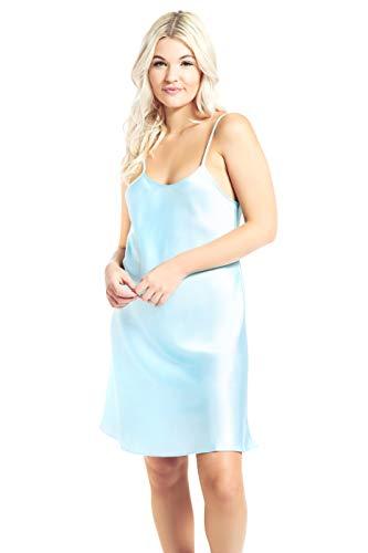(Jovannie Regular/Long Length Satin Chemise Teddy Sleepwear Nightgown Nightie Full Slip Dress Babydoll Nightwear (X-Large,)