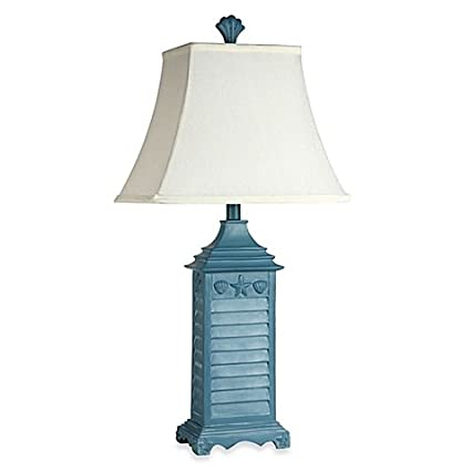 Amazon coastal shutter table lamp in blue home kitchen coastal shutter table lamp in blue aloadofball Choice Image