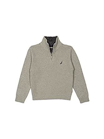 Nautica Little Boys' Zip Neck Ottoman Stitch Solid Sweater, Grey Heather, 7X