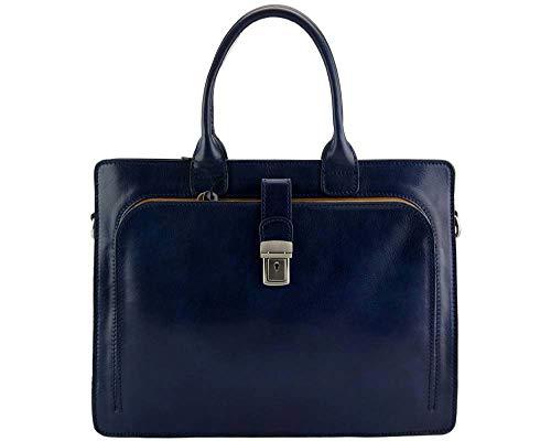 Leather briefcase mens women office shoulder bag document messenger bag business bag satchel handbag executive VIP briefcase blue