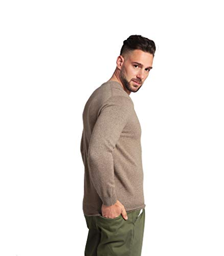 Goyo Cashmere Men's 100% Pure Cashmere Sweater - V-Neck Long Sleeve Pullover (Camel, XL)