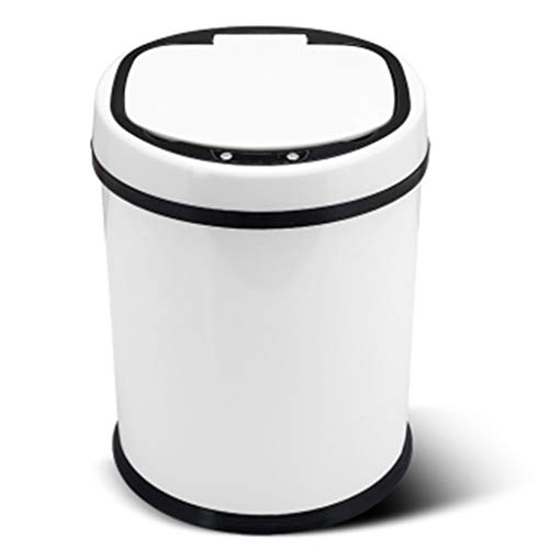 LLWWY 8L Stainless Silver Steel Automatic Sensor Touchless Waste Bin-Rose Red ()
