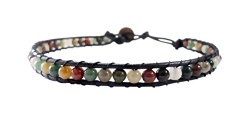 Infinity Anklet Jasper Stone Ankle Bracelet 10 Inches Woven with Leather Cord Beautiful Handmade Hippie Bohemian Unisex Style Gift for Men, Women, Teenage