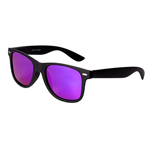 Nerd Sunglasses Matt Rubber Style Retro Vintage Unisex Glasses Spring Hinge Black - 24 Different Models (Black-Purple, - Wayfarers Purple