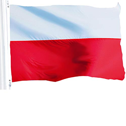 (G128 - Poland (Polish) Flag | 3x5 feet | Printed 150D - Indoor/Outdoor, Vibrant Colors, Brass Grommets, Quality Polyester, Much Thicker More Durable Than 100D 75D Polyester)