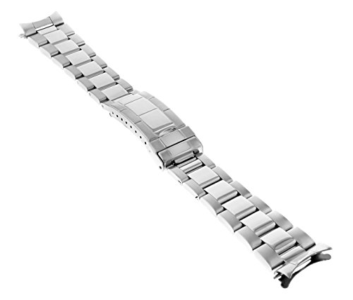 20MM OYSTER WATCH BAND BRACELET FOR ROLEX SUBMARINER SHINY CENTER FLIP LOCK TQ (Watch Band For Rolex Submariner)