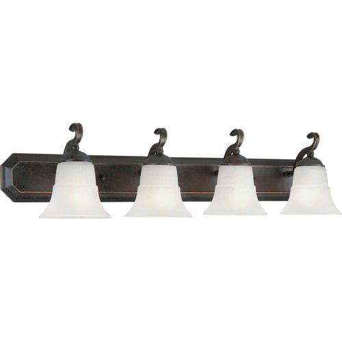 Espresso 4 Light (Progress Lighting P3024-84 4-Light Bath Bracket with Etched Water Glass, Espresso)