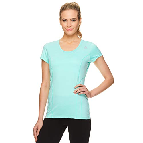 Reebok Women's Dynamic Fitted Performance Short Sleeve T-Shirt - Dyna Bermuda Ocean Heather, Small