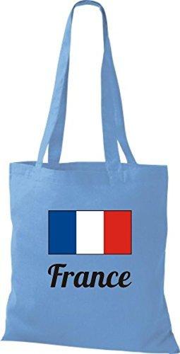 shirtinstyle Bolsa de tela bolsa de algodón länderjute Francia Francia - fucsia, 38 cm x 42 cm azul claro