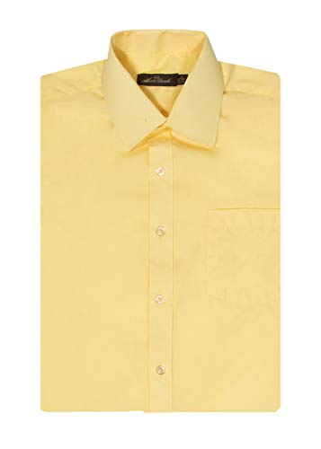 Alberto Danelli Men's Short Sleeve Dress Shirt, Canary, Small 14-14.5