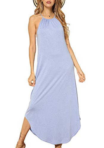 (Women Plain Summer Loose Flowy Sleeveless Maxi Long Dress Sky Blue M)