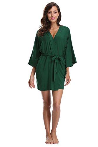 KimonoDeals Women's Soft Sleepwear Modal Cotton Wrap Robe Green L, Short