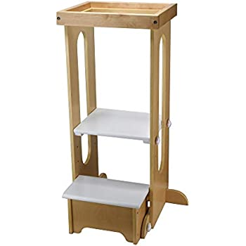 guidecraft kitchen helper tower step up white kids 39 wooden adjustable height. Black Bedroom Furniture Sets. Home Design Ideas