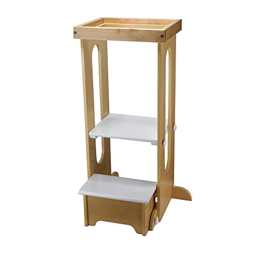 Little Partners Explore n Store Learning Tower Kids Adjustable Height Kitchen Step Stool for Toddlers or Any Little Helper - Natural with White -