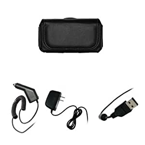 EMPIRE Black Leather Case Pouch with Belt Clip and Belt Loops + Car Charger (CLA) + Home Wall Charger + USB Data Cable for Motorola DROID 2 Global