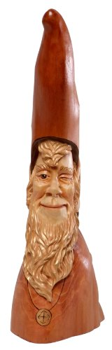 Caffco International Knobby Knee Cypress Wood Carving Reproduction, Southern Elf - Wood Cypress
