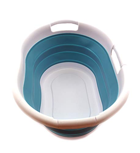 SAMMART Collapsible Plastic Laundry Basket - Oval Tub/Basket - Foldable Storage Container/Organizer - Portable Washing Tub - Space Saving Laundry Hamper (Bright Blue, 1) ()