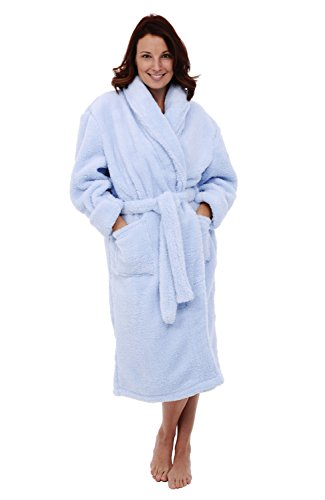 Womens Fleece Robe, Plush Microfiber Bathrobe, Small Medium Light Blue (A0302LBLMD) ()