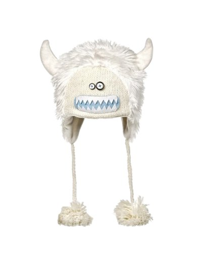 Yeti Costume For Snowboarding (Kids Yeti White Knitted Hat with Ears)