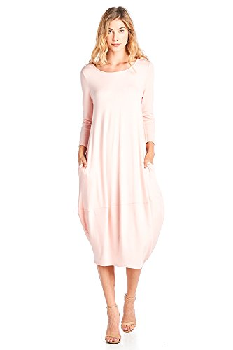 12 Ami Solid 3/4 Sleeve Bubble Hem Pocket Midi Dress Blush L