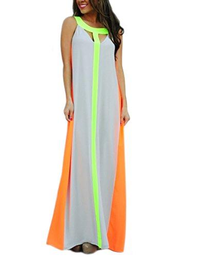 - HDE Women's Sleeveless Maxi Dress Colorblock Chiffon Sling Striped Long Sundress (L)