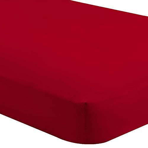 Bare Home Fitted Bottom Sheet King - Premium 1800 Ultra-Soft Wrinkle Resistant Microfiber - Hypoallergenic - Deep Pocket (King, Red) (Deep Red Bedding)
