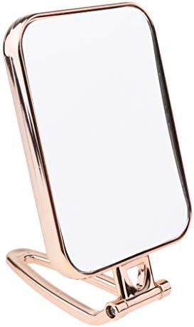 耐久性 化粧鏡 部屋 バスルーム スクエア スタンドミラー 旅行化粧鏡 3色 - ゴールド
