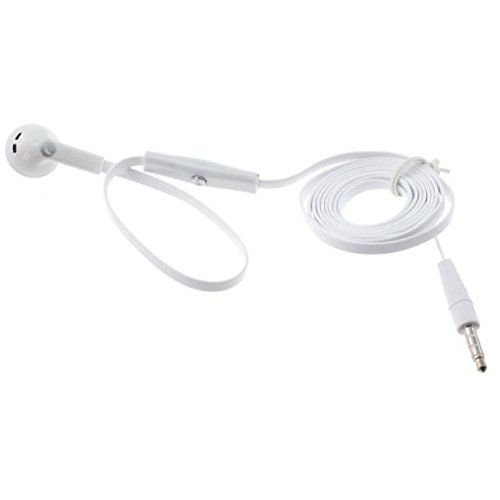 Flat Wired Headset MONO Hands-free Earphone w Mic Single Earbud Headphone Earpiece [3.5mm] [White] for iPod Nano 5th, 7th Gen - iPod Touch 1st, 2nd, 3rd, 4th, 5th Generations - Google Pixel, XL -
