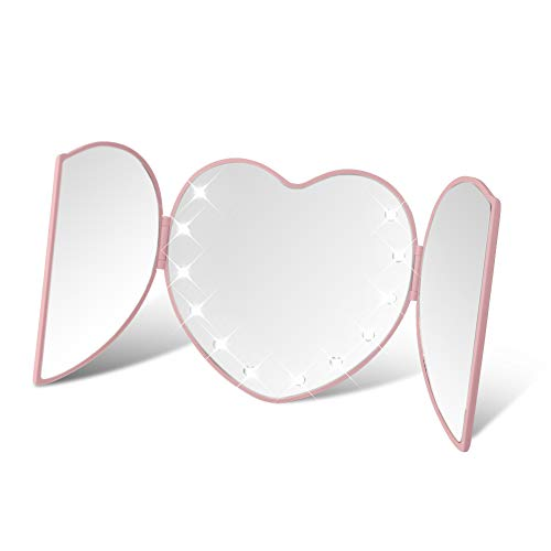DUcare Lighted Tri-Fold Travel Makeup Mirror Heart Shape Folding Illuminating 8 Led Lights Pink ()