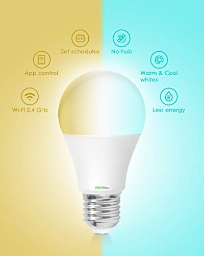 VOCOlinc Smart Wi-Fi LED Light Bulb A19, Tunable Dimmable Adjustable, Works with HomeKit, Alexa and Google Assistant, 2200K-7000K Cool to Warm Whites, No Hub Required, 2.4G Wi-Fi, L2 (2 Pack)