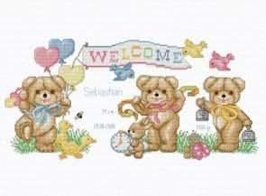 Beary Baby Announcement, Cross Stitch from Ellen Maurer Stroh