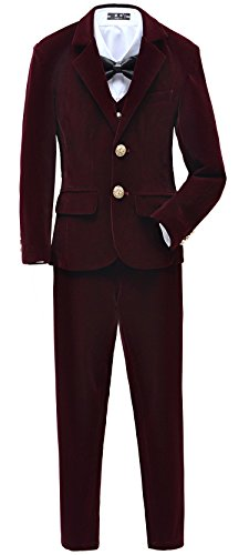 Yuanlu Boys Velvet Suits 5 Piece Slim Fit Dress Suit Set Size 4 Burgundy For Wedding by Yuanlu
