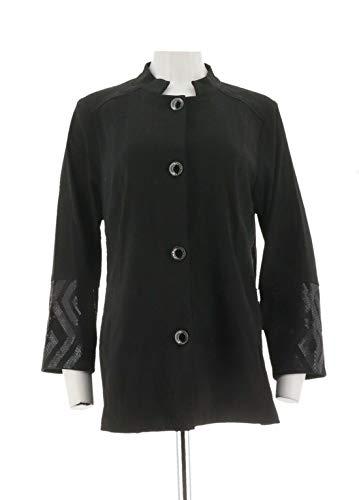 Bob Mackie Clothes - Bob Mackie Button Front Moleskin Jacket Sequin Cuff Black L # A279236