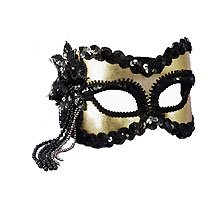 Mardi Gras Venetian Masquerade Black and Gold Feathered Half Mask Costume Accessory ()