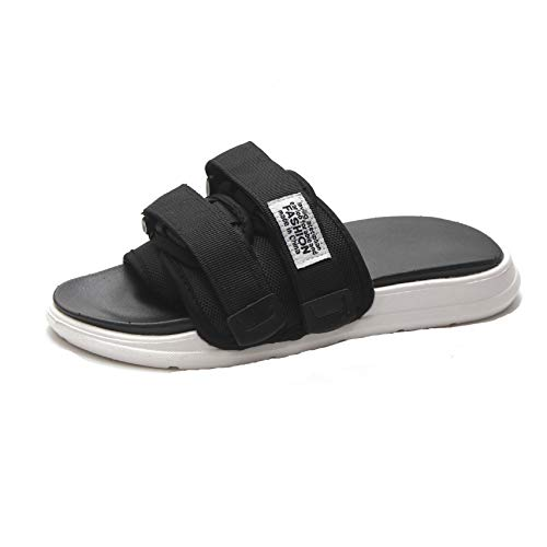 xsby Men and Women Lightweight Comfort Soft Slides EVA Adjustable Double Buckle Flat Sandals Black - Cf Fr Shock