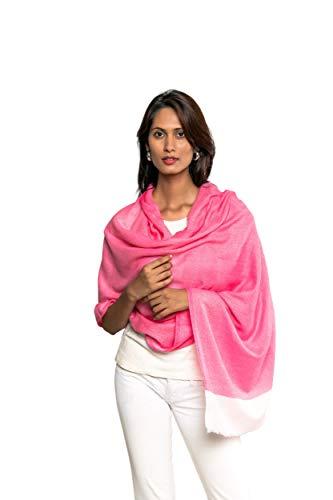 Roysha Pure Blended Premium Handmade Cashmere & Cotton Stole/Scarf (Fuschia Pink)