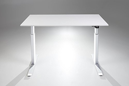 FlexTable Height Adjustable Sit Stand Desk w/ White Frame (Small 24' x 40', White Desk Top)
