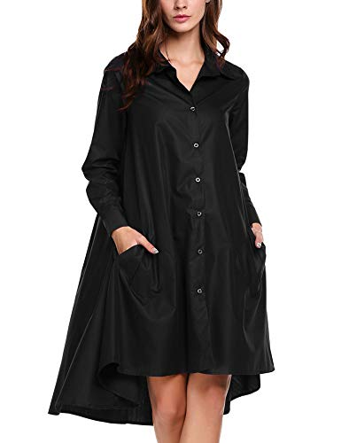 Zeagoo Womens Single-Breasted Design Shirt Dress Long High Low Top Shirt(Black,Small)