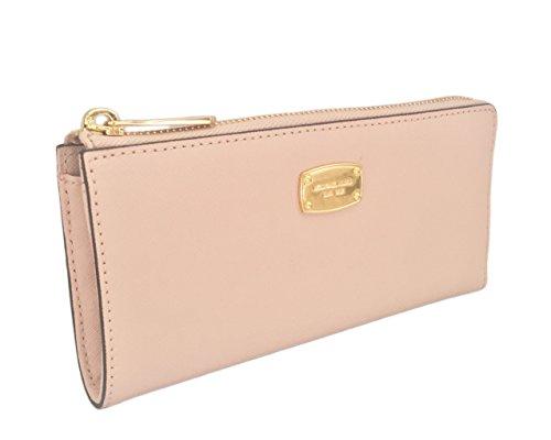 b9a8557e32a2 Michael Kors Jet Set Travel Large Three Quarter Zip Around Leather Wallet  (Blossom Pink)