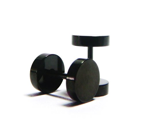 0G 7MM Round Black Illusion Fake Cheater Body Piercing Barbell Tunnel Plug Stud Earrings, Comfortable Screw-Back Posts, 316L Stainless Steel Curved Barbell Illusion Earrings